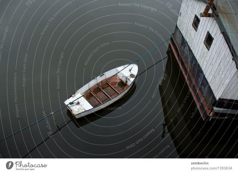 boat Watercraft Dinghy Motor barge Fishing (Angle) Houseboat Surface of water River Elbe Harbour Yacht harbour Bird's-eye view Deserted Empty Dreary Autumn Rope