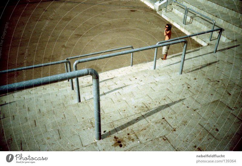 Human being Man Old Summer Colour Metal Bright Brown Concrete Corner Retro Illuminate Concert Handrail Diagonal Trashy