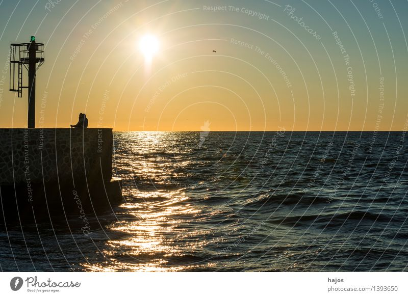Sunset at the Baltic Sea Leisure and hobbies Vacation & Travel Ocean Sunrise Moody Infatuation Romance Idyll Love affair Mole Signal Harbour entrance Couple