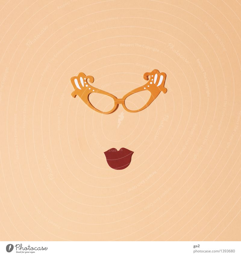 Mildred Elegant Style Leisure and hobbies Handicraft Feminine Woman Adults Mouth Eyeglasses Paper Uniqueness Funny Eroticism Cliche Brown Design Beautiful