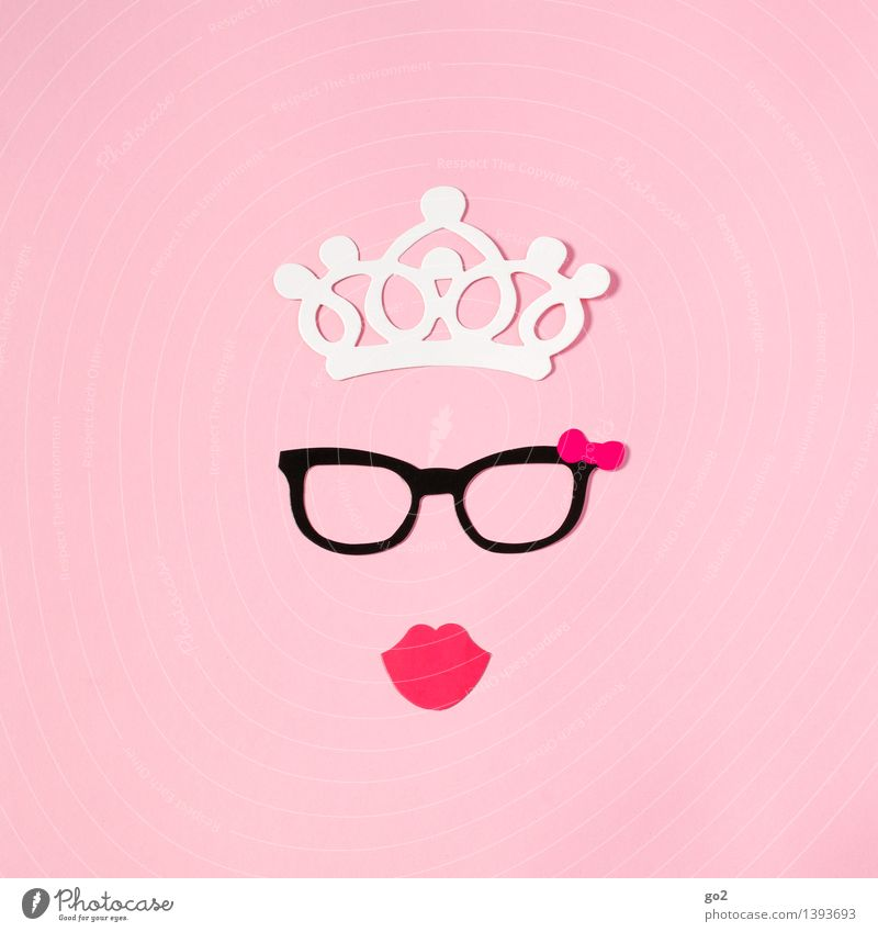 Lady Ashley Luxury Elegant Style Beautiful Lipstick Leisure and hobbies Handicraft Feminine Woman Adults Mouth Accessory Eyeglasses Crown Pout Paper Esthetic