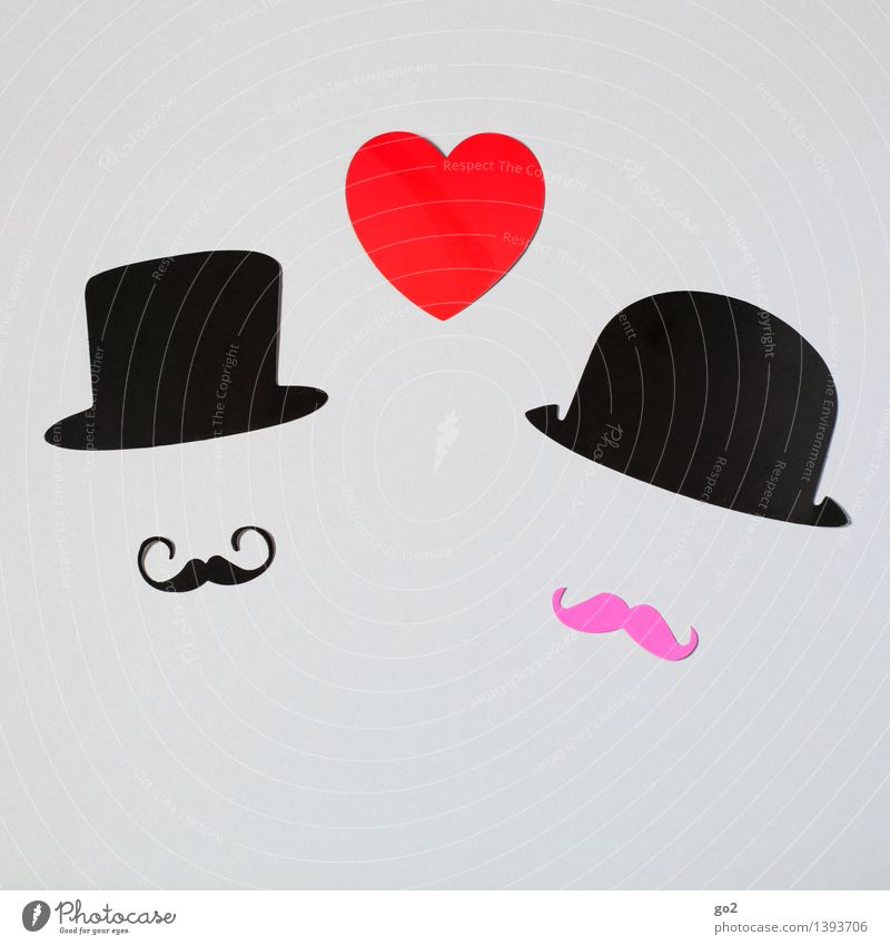Percy & Montgomery Handicraft Valentine's Day Wedding Masculine Homosexual Man Adults Couple Partner Facial hair Fashion Accessory Hat Moustache Paper Heart