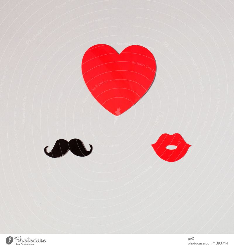 matter of the heart Handicraft Valentine's Day Masculine Feminine Woman Adults Man Mouth Lips Moustache Paper Sign Heart Kissing Cliche Red Black Emotions