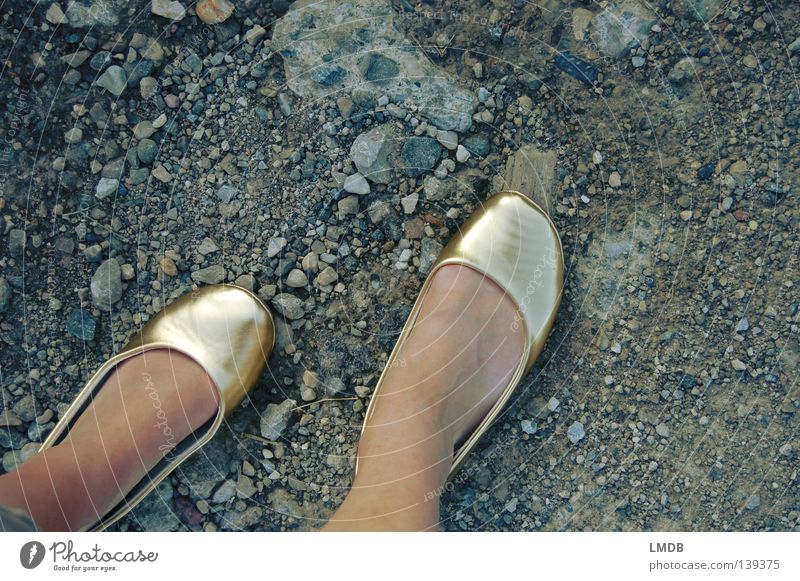 Cindarella's hard way to success 2 Cinderella Fairy tale Footwear Bird's-eye view Tip of the toe Date Asphalt Going Impassable Woman Graceful Thin Squander Gold