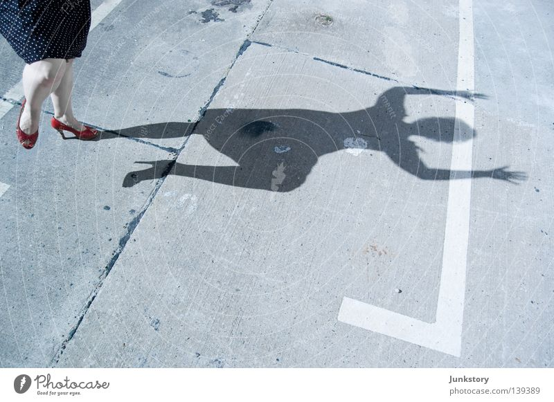Woman Human being Sun Red Feet Legs Concrete Dress Obscure Parking lot Criminality Footwear High heels Crime scene