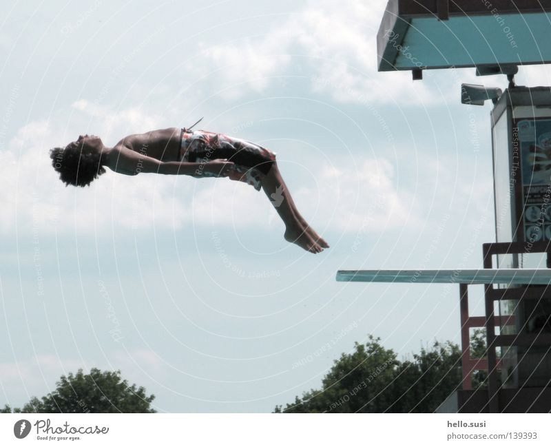 Salto backwards Summer Swimming pool Springboard Backwards Light blue Clouds Swimming trunks Acrobatic Somersault Jump Hop Posture Joy Sky Africans Abstract