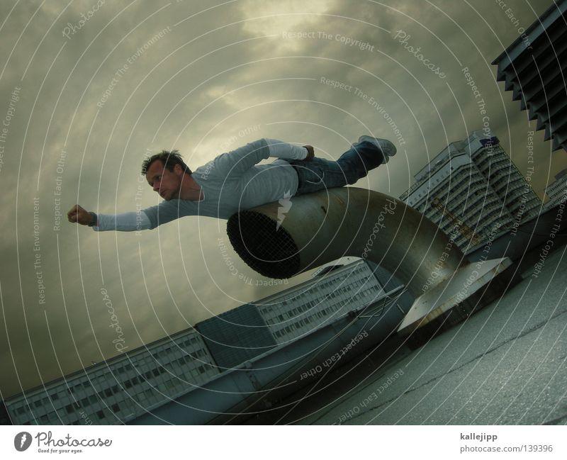 Human being Sky Man City Landscape Freedom Warmth Jump Earth Air Legs Arm Beginning Airplane
