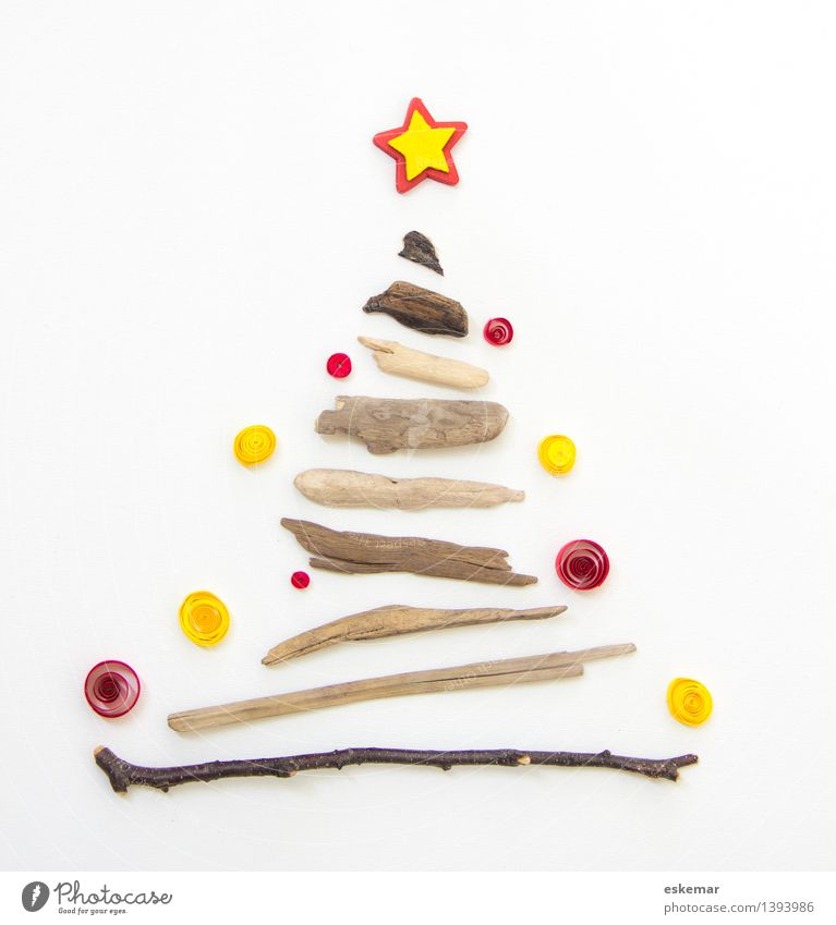 Christmas! Feasts & Celebrations Christmas & Advent Christmas tree Tree Paper Wood Sphere Simple Brown Yellow Red White Anticipation Nature Driftwood