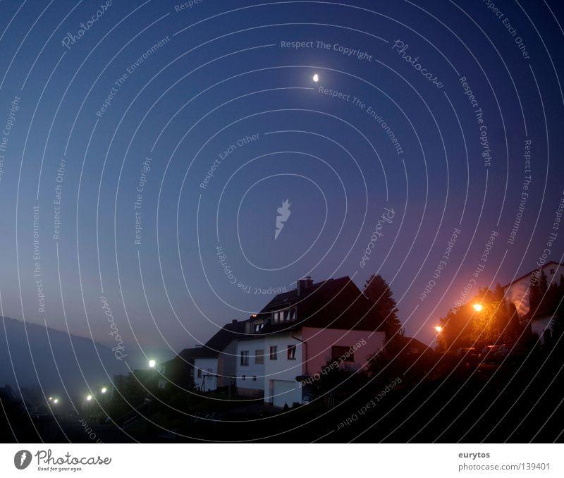 Moonlight. House (Residential Structure) Stars Street lighting Light Night Fog Morning Dawn Village Wall (building) Mountain Horizon Roof Blue Sky Cloudless sky