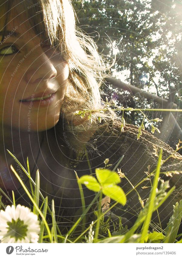 Woman Tree Sun Summer Joy Grass Flower Laughter Hair and hairstyles Dress Lie Nature Chain Daisy Human being Swing