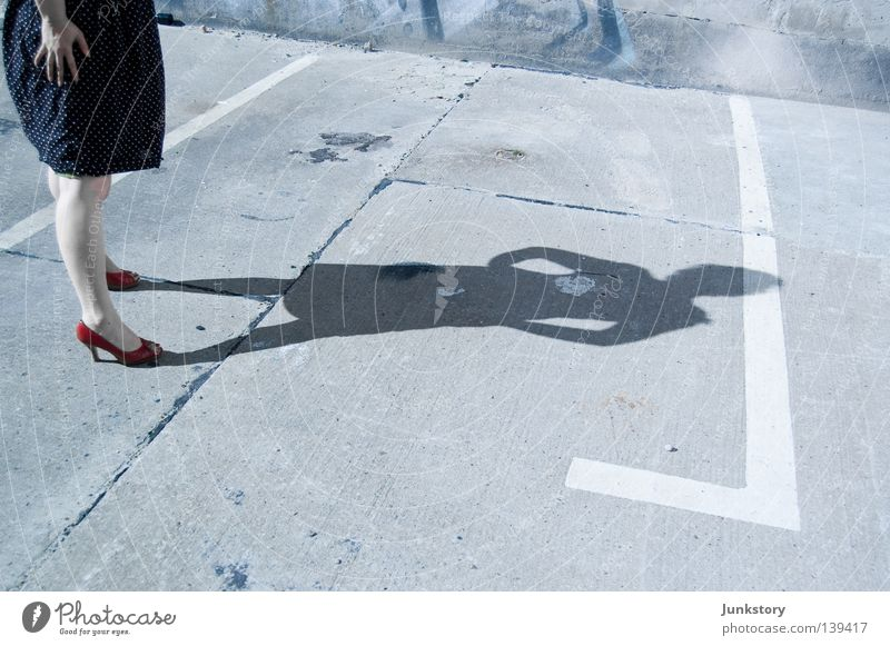Woman Human being Sun Red Feet Legs Concrete Dress Places Obscure Parking lot Criminality High heels Crime scene