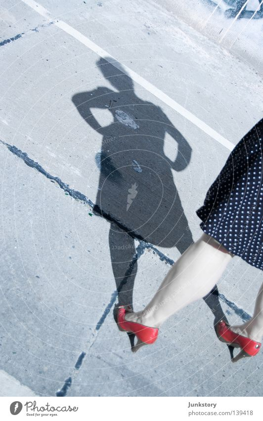 Woman Human being Sun Red Feet Legs Concrete Footwear Dress Obscure Clothing Parking lot Criminality High heels Abstract Crime scene