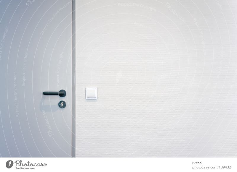 The new office Office work Wall (barrier) Wall (building) Door Lock Simple Bright Clean Gloomy Gray White Arrangement Closed Door handle Light switch Impersonal