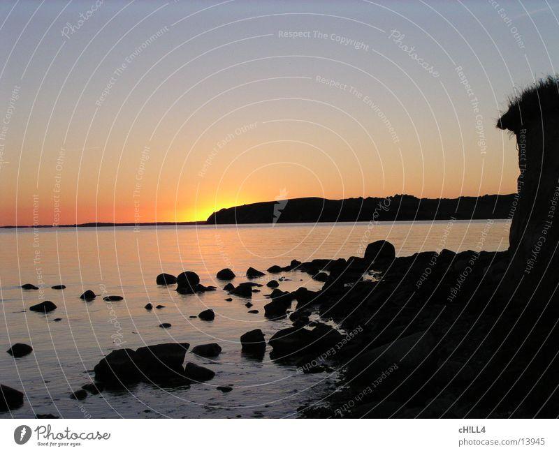 sundown Ocean Rügen Sunset Horizon Evening Water Baltic Sea Coast steep Stone Vantage point
