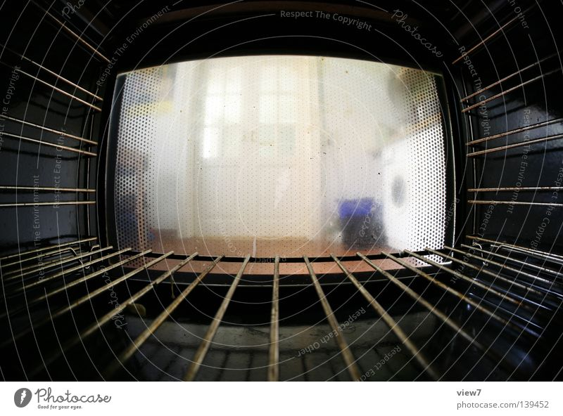 oven perspective Kitchen Narrow Room Dark Steel Hot Production Fisheye electric cooker Energy industry Iron-pipe Window pane Rust Dirty Vantage point Nutrition