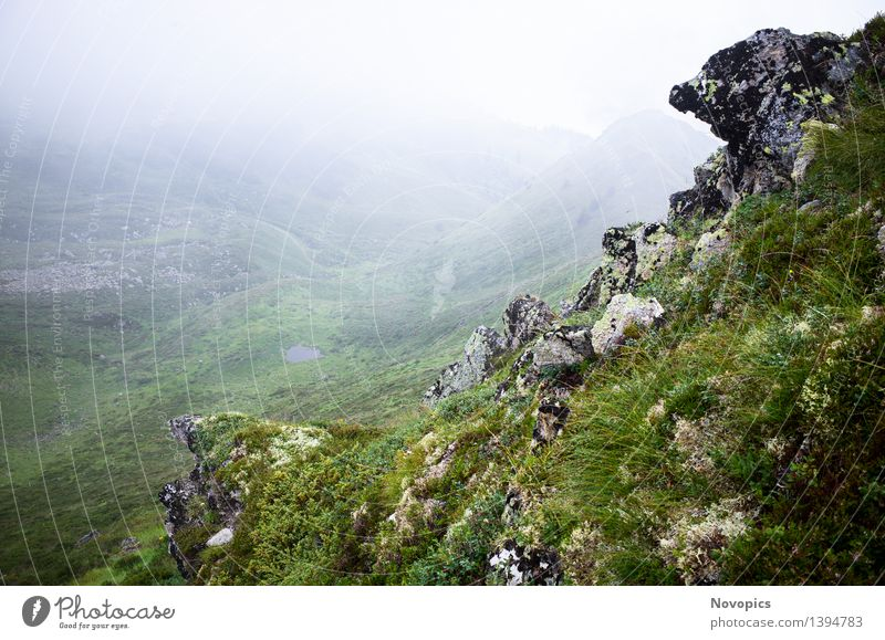 Nature Blue Green White Red Landscape Clouds Black Mountain Gray Brown Rock Fog Hiking Footpath Hill