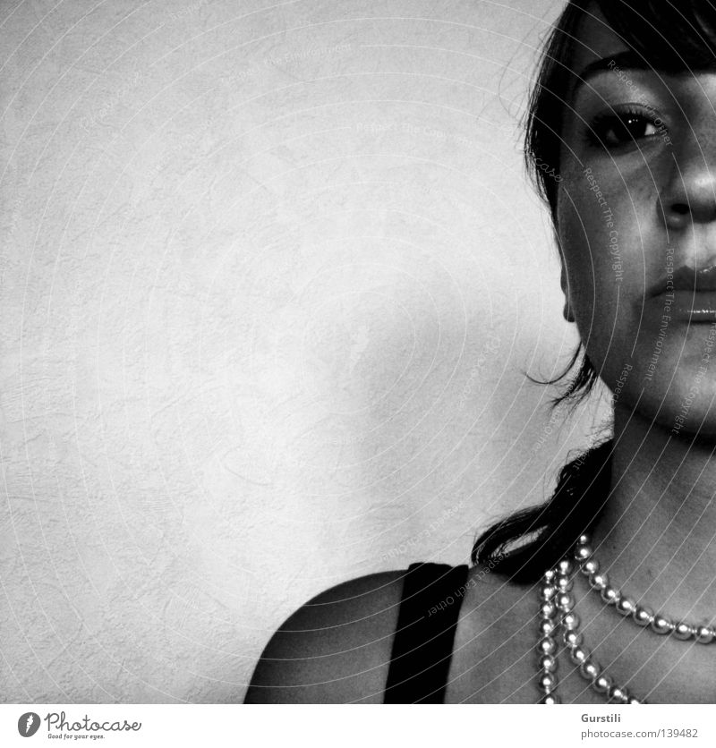 watchful. Woman Necklace Watchfulness Lips Black Black & white photo Looking Face Eyes