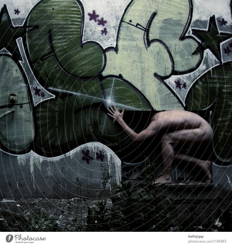 Human being Man Hand Green House (Residential Structure) Window Eroticism Graffiti Wall (building) Naked Legs Body Facade Glittering Skin Star (Symbol)