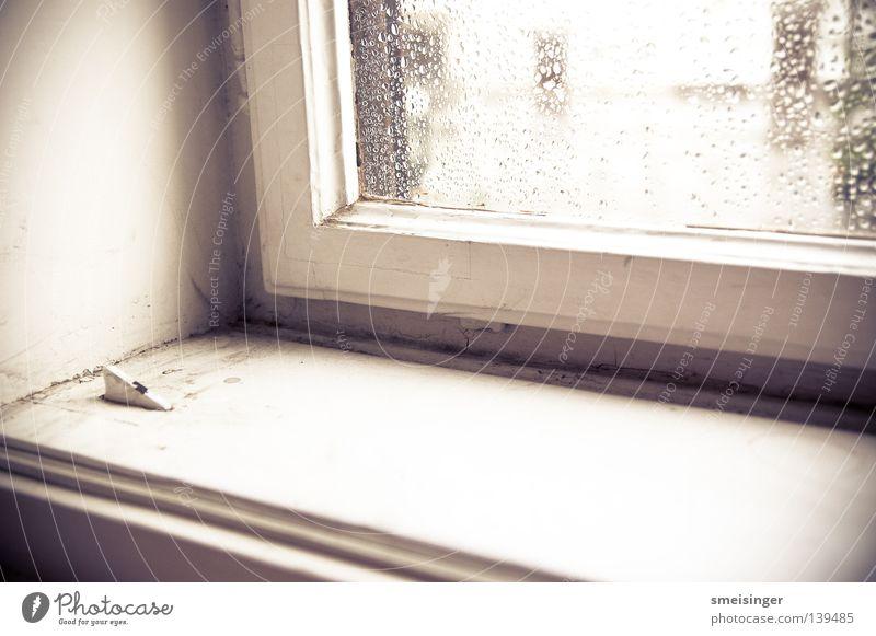 Old White Window Rain Glass Living or residing Dust Old building Window board Window frame