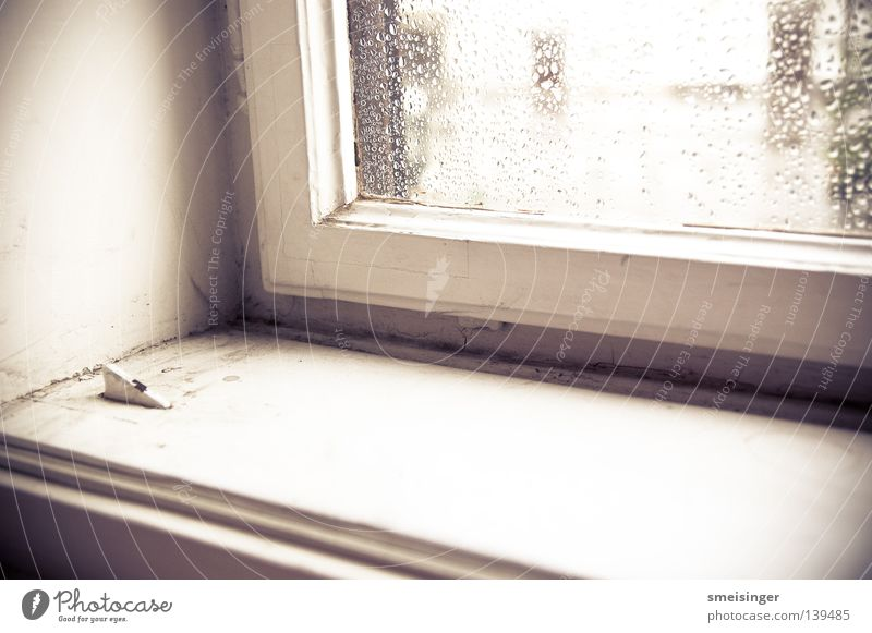 Window with raindrops on it ... Rain Dust Window frame Window board White Light Old building Living or residing Lomography Glass