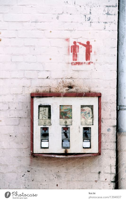 house wall Wall (barrier) Wall (building) Graffiti Paying Threat Retro Gray Red White Anticipation Fear of death Money To enjoy Nostalgia Gumball machine
