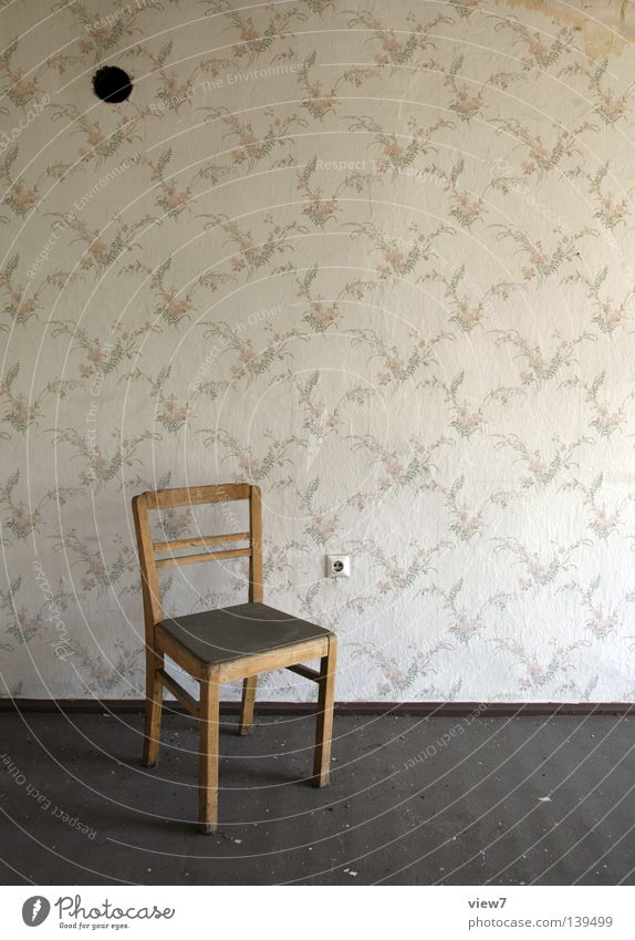 Old Loneliness Wall (building) Wood Retro Chair Floor covering Wallpaper Derelict Furniture Living room Idea Material Seating Forget Socket