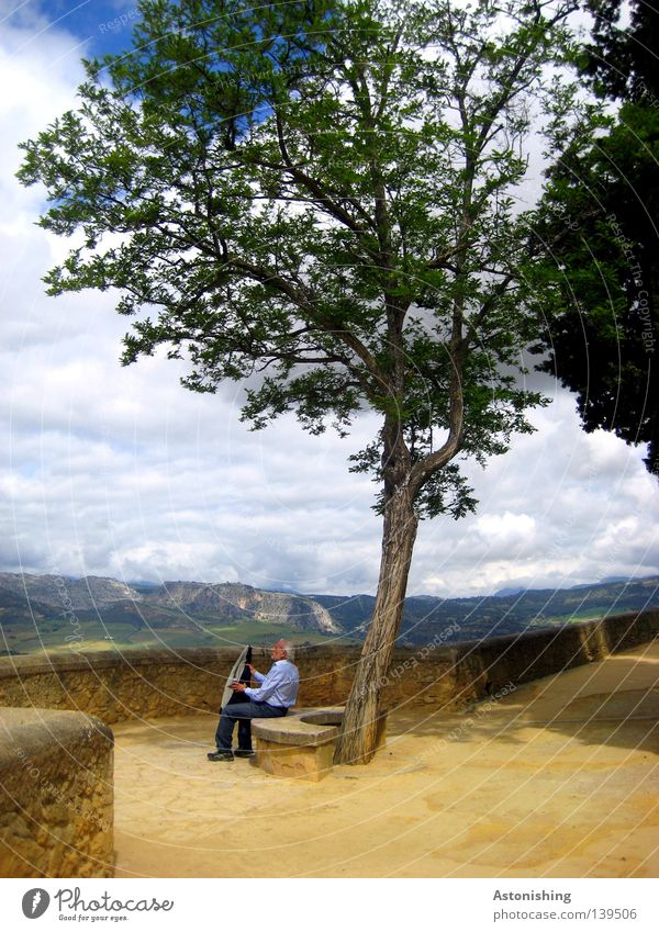 lunch break Mountain Man Adults Nature Landscape Clouds Horizon Warmth Tree Jacket Stone Sit Break Midday Lunch hour Costume Ronda Spain Bench Vantage point