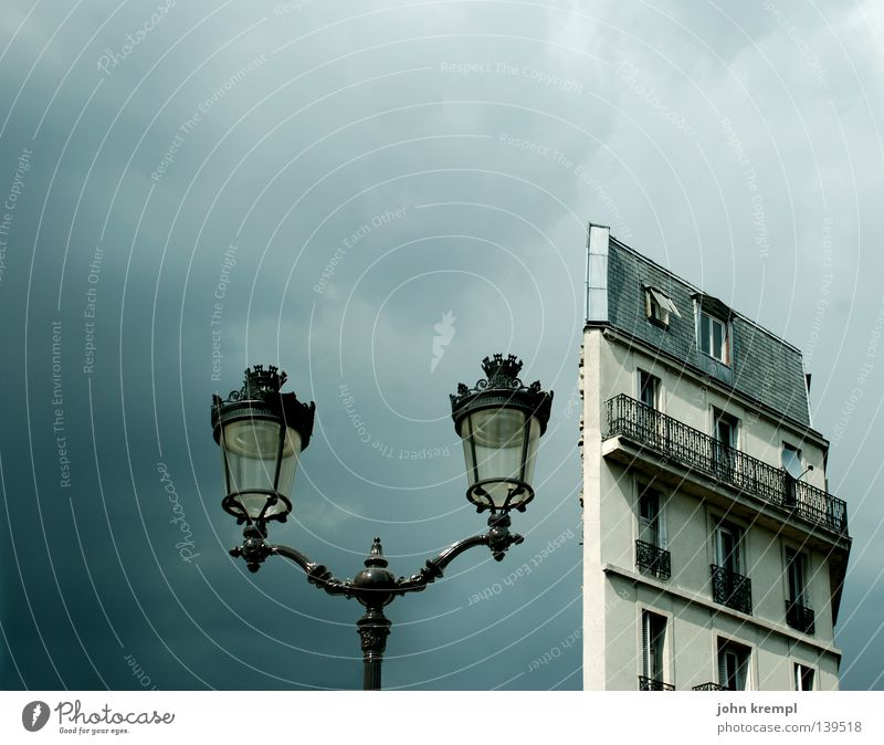 Sky Blue House (Residential Structure) Clouds Street Gray Flat (apartment) High-rise Paris Lantern Balcony France Thunder and lightning Half Old building Part