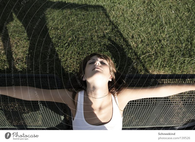 Woman Hand Green Beautiful Summer Face Relaxation Meadow Hair and hairstyles Garden Park Contentment Back Arm Sleep Bench