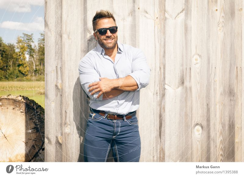Man with sunglasses Lifestyle Style Human being Masculine Young man Youth (Young adults) 1 18 - 30 years Adults Nature Wall (barrier) Wall (building) Fashion