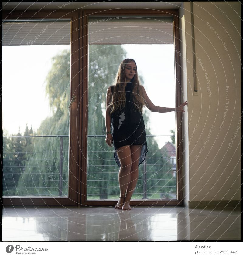 Re: all good Young woman Youth (Young adults) Body Legs 18 - 30 years Adults Landscape Beautiful weather Tree Garden Balcony Window Dress Barefoot Blonde