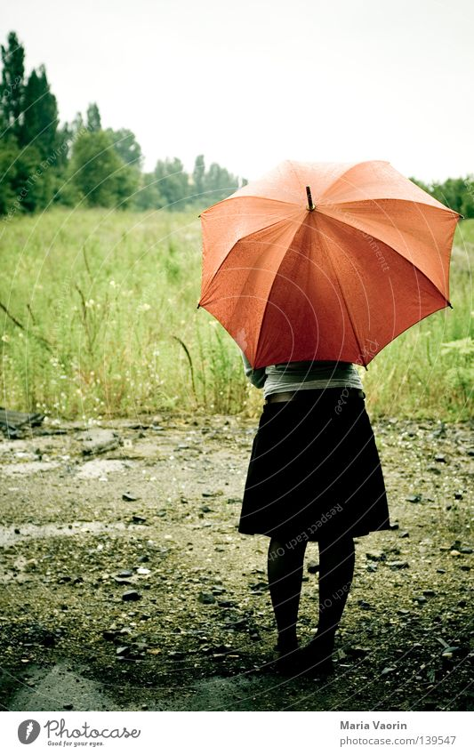Clouds Loneliness Sadness Rain Wait Weather Grief Stand Umbrella Thunder and lightning Distress Storm Doomed Feeble Forget