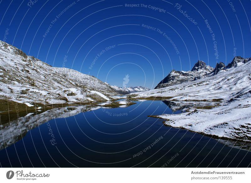 Sky Blue Calm Snow Relaxation Mountain Freedom Lake Landscape Peace Austria Harmonious Mirror image