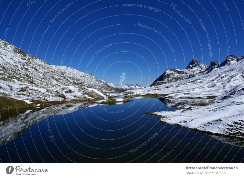 Sky Blue Calm Snow Relaxation Mountain Freedom Lake Landscape Peace Austria Harmonious Mirror image