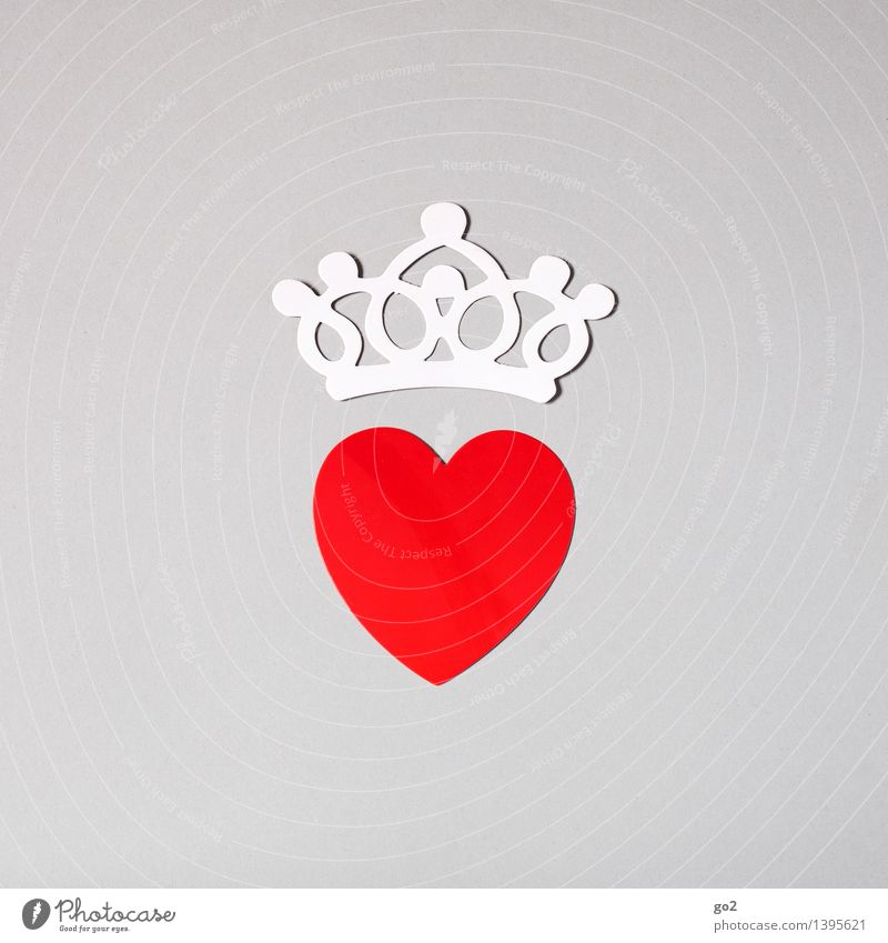 A heart and a crown Handicraft Valentine's Day Paper Crown Sign Heart Esthetic Simple Cliche Gray Red White Love Infatuation Romance Colour photo Interior shot
