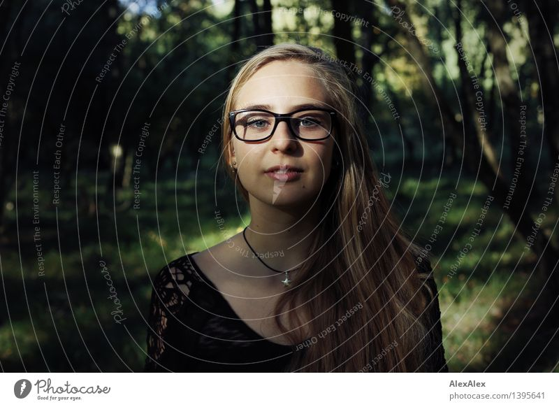 field trip Trip Adventure Young woman Youth (Young adults) Face 18 - 30 years Adults Nature Plant Beautiful weather Tree Forest Dress Eyeglasses Blonde