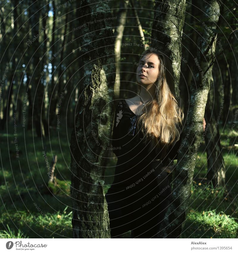 walk in the woods Trip Adventure Hiking Young woman Youth (Young adults) Hair and hairstyles Face 18 - 30 years Adults Nature Beautiful weather Tree Grass