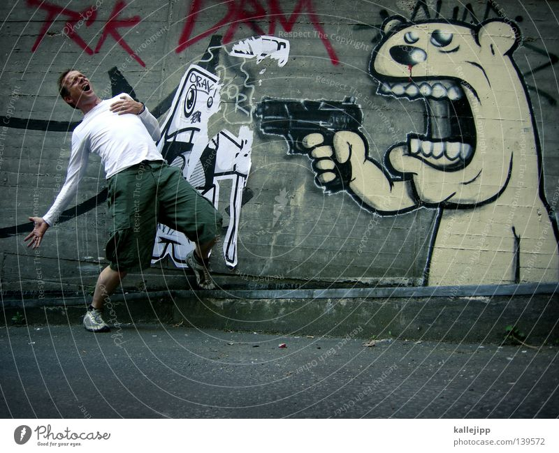 Human being Man Joy Death Street Graffiti Life Humor Laughter Wall (barrier) Fear Weapon Heart Concrete Might To fall
