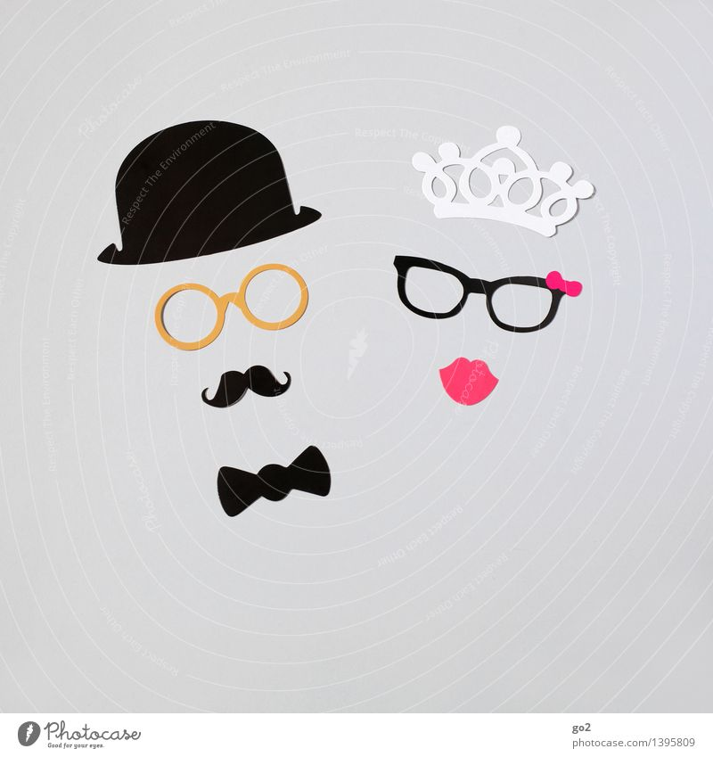 She & Him Luxury Style Handicraft Masculine Feminine Woman Adults Man Couple Partner 2 Human being Fashion Bow tie Eyeglasses Crown Hat Moustache Paper Sympathy