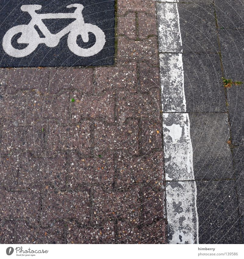 bike lane Asphalt Sidewalk Cycle path Bicycle Motorcyclist Fashioned Design Style Cycle race Road construction Town Traffic lane Traffic infrastructure Playing