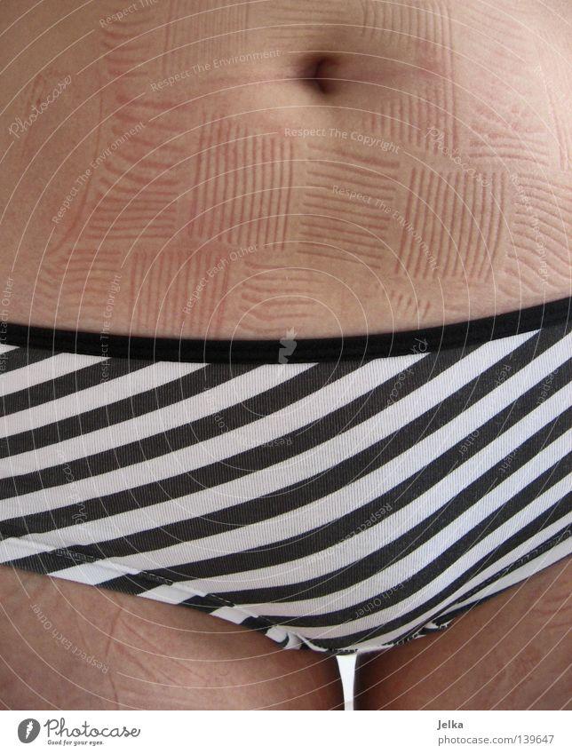 Woman White Black Adults Naked Legs Skin Stripe Pants Stomach Striped Underwear Stride Underpants Bottle Packaging