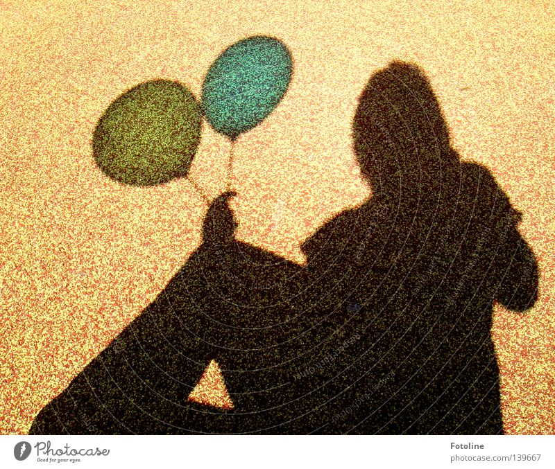 shadow play - or the shadow of a young woman holding 2 balloons Balloon Yellow Clouds Horizon by hand Brown Woman Shadow Blue Flying 99 Balloons nena