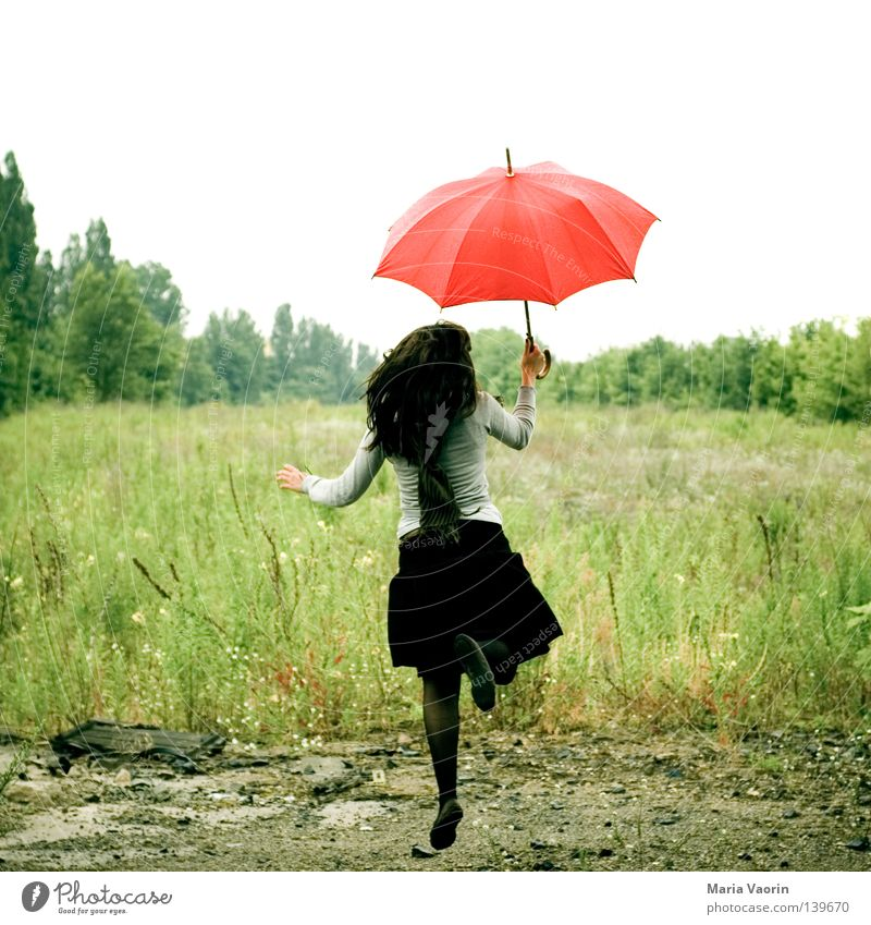 Woman Joy Clouds Life Freedom Emotions Movement Happy Jump Rain Weather Wait Flying Tall Aviation