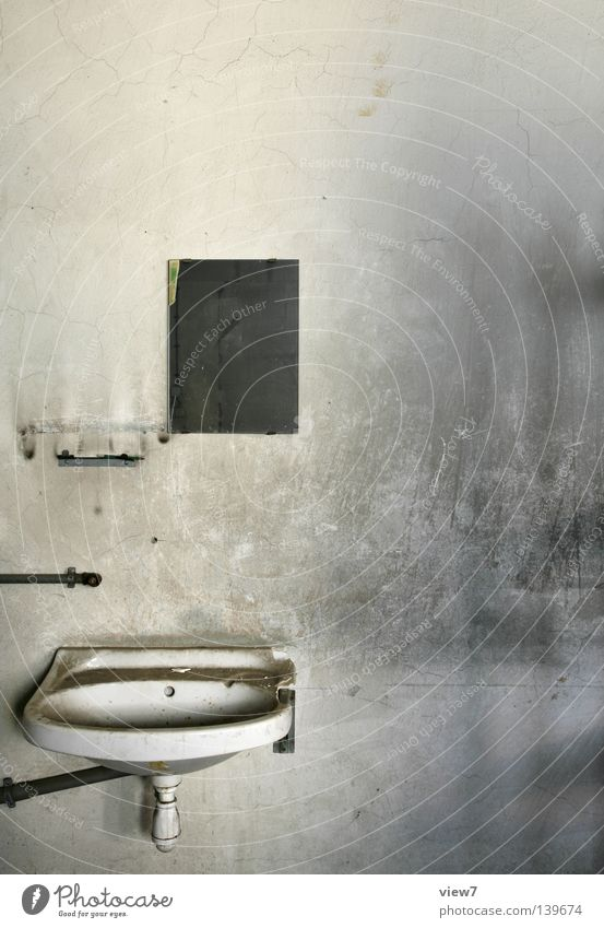 Water Wall (building) Sadness Dirty Bathroom Clean Derelict Plaster Basin Sink Tap Connection Hand basin