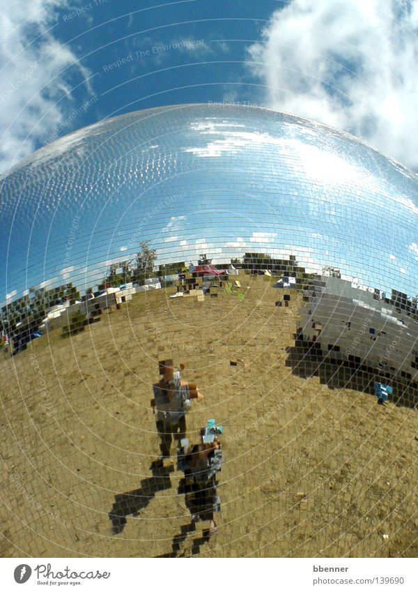 Pixelated Disco ball Mirror Mirror image Square Clouds Summer Caravan Friendship Joy mirror plate Sphere Reflection Blue sky Sun Earth Music festival Fusion
