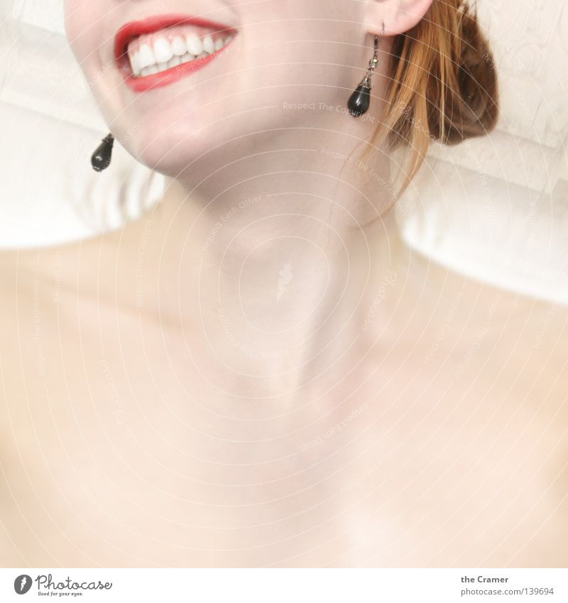 Woman Red Warmth Laughter Mouth Skin Soft Ear Teeth Lips Physics Jewellery Shoulder Neck Earring Chin