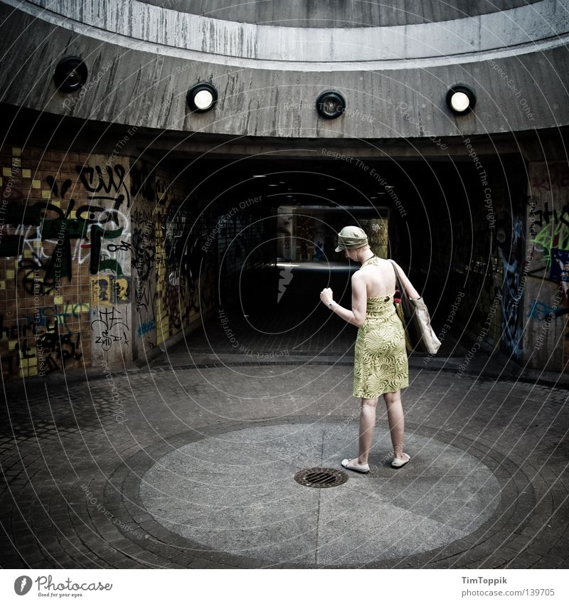 Woman City Movement Graffiti Stand Posture Dress Stop Derelict Tunnel Cap Radiation Freeze Surrealism Media UFO