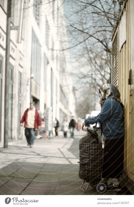 wait again Sidewalk Woman Carriage Bag Tree Summer Stand House (Residential Structure) Facade Berlin Capital city Street Human being Rag Twig Wait