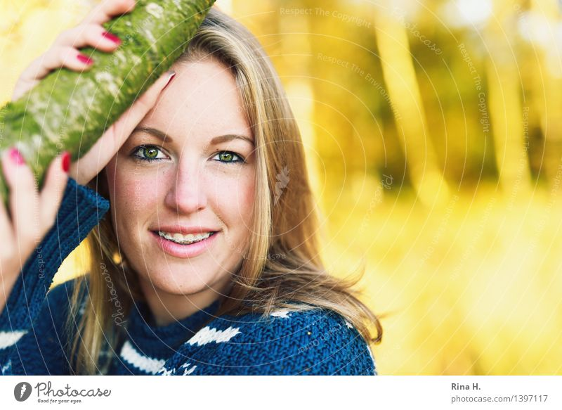 Human being Youth (Young adults) Beautiful Hand Forest Autumn Feminine Contentment 13 - 18 years Blonde Authentic Beautiful weather Long-haired Sweater Braces
