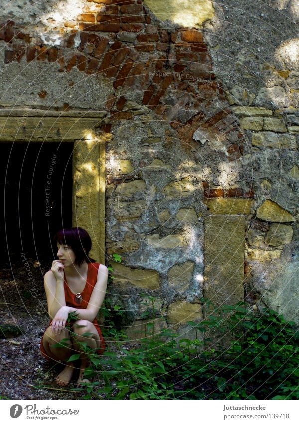 Woman Loneliness Think Sit Derelict Castle Gate Shabby Ruin Boredom Badlands Cellar Crouch Cave Jinxed Aimless